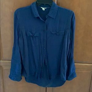 EUC BUTTON DOWN NAVY AERO BLOUSE SIZE M